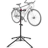 Relaxdays Soporte caballete plegable para bicicletas, acero pulverizado, soporte hasta 30 kg, altura ajustable desde 110-190 cm, color negro