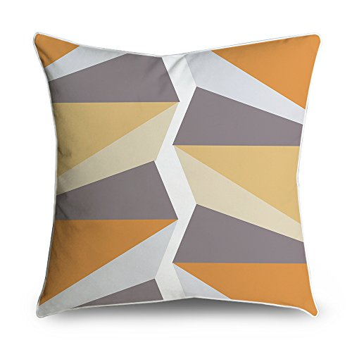 fabricmcc Mid-Century moderno geometrico arancione bianco quadrato accento decorativo Throw Pillow Cover cuscino 18 X 18