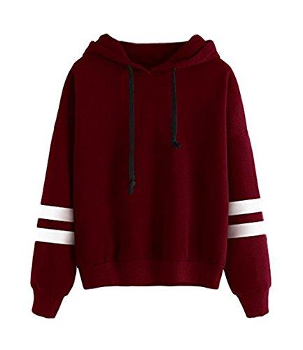 Frauen Langarm Kapuzenpullis, Damen Hoodies Langarm Kapuzenpulli Sweatshirt Pullover Tops Bluse Streifen Kapuzen Sweatshirt (Rot, L/EU40-42)