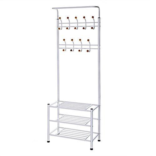 Songmics Höhe 187 cm Garderobenständer Kleiderständer Garderobe mit 3 schuhablagen mit 18 haken aus metall weiß HSR04W