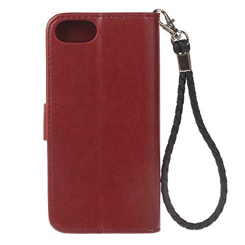 Coque Apple iPhone 7/7G (4,7 zoll) Étui en Cuir, Ecoway Hibou En Relief Pattern Series PU Case Cover Flip Cover Emplacement de Carte de Portefeuille Pour Apple iPhone 7/7G/8 (4,7 zoll) - Or rose Vin rouge