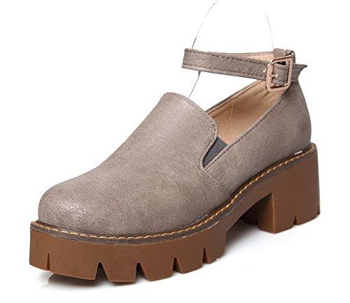 VogueZone009 Femme Pu Cuir à Talon Correct Rond Couleur Unie Boucle Chaussures Légeres Gris