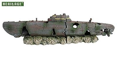 Heritage Aquarium Fish Tank U-boat Submarine 2-pc Wreck Handpainted Ornament