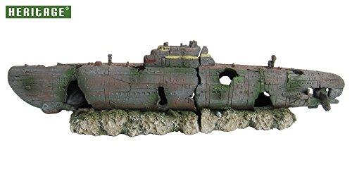 Heritage Aquariumdekoration U-Boot-Wrack, 2-teilig, handbemalt (Products Ornament Pet)