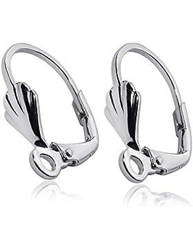 MATERIA 1 Paar Muschel Ohrring Brisuren Silber 925 rhodiniert 13x18mm - Ohrhaken deutsche Fertigung #Z2