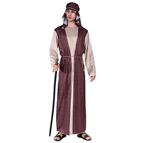 Zhuhaitf Karneval Mittelalterlich Fancy Dress Kostüm Partei Mittlerer Osten Outfit für Halloween Herren Cosplay Dubai Araber Robe Set Style 5-8 ()