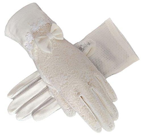 Damen Braut Hochzeit Spitze Handschuhe Derby Tee Party Handschuhe viktorianischen Gothic Kostüme Handschuhe (Bowknot Weiß)