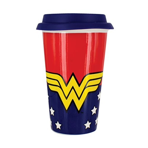 Charaktere Buch Kostüm Comic - Paladone DC Comics Travel Mug Wonder Woman Logo blau/rot/gelb, Bedruckt, aus Kunststoff, Füllmenge: 400 ml.