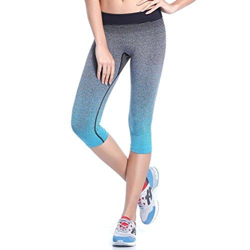 Pants, Manadian Women Sports Yoga Elastic Compression Tights Fitness Women Running Trouser Pants (Blue, M)