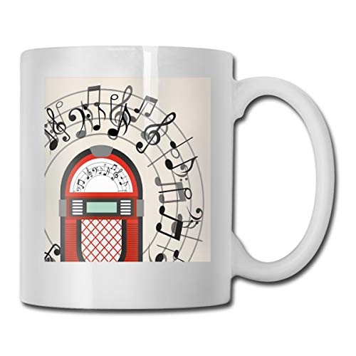 Jolly2T Funny Ceramic Novelty Coffee Mug 11oz,Cartoon Antique Old Vintage Radio Music Box Party with Notes Artwork,Unisex Who Tea Mugs Coffee Cups,Suitable for Office and Home Sip Radio Pack