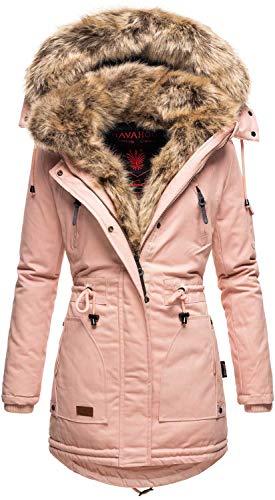 Navahoo warme Damen Winter Jacke Parka lang Mantel Winterjacke Fell Kragen B380 (L, Rosa)