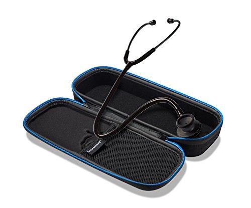 Supremery Hard Case für Stethoskop Transport Tasche Hülle mit Netztasche, Reißverschluss und Trageschlaufe - Wasserabweisend in Schwarz/Blau (Premium Stethoskop)