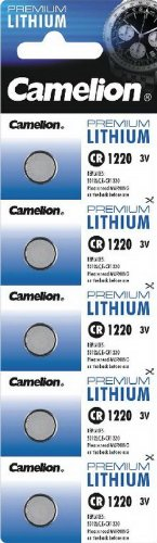 Lithium Knopfzelle CAMELION CR1220, 3V, 12x2mm, 5er-Blister
