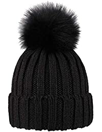 ElifeAcc Cappello di Pelliccia Caldo Inverno 2018 Pom Pom Beanie Bobble  Lavorato a Maglia per Cappelli da Sci… dbcd3ae499b6