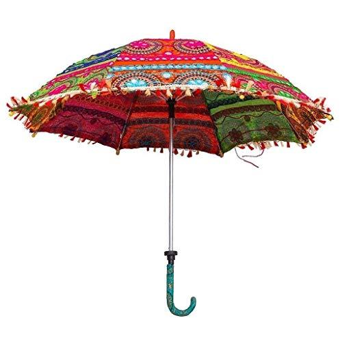 Jaipuri Craft Handmade Embroidery Work Decorative Multicolour Fabric Umbrella (60 cm)