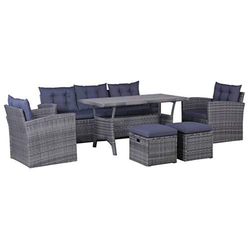 vidaXL Gartenmöbel mit Auflagen 6-TLG. Sitzgruppe Lounge Sofa Gartensofa Sitzgarnitur Gartengarnitur Gartenset Tisch Sessel Hocker Poly Rattan Dunkelgrau