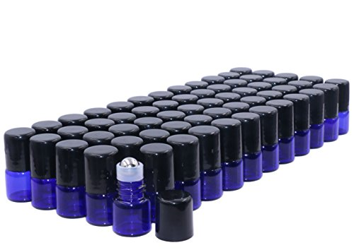Furnido Roll-on-flaschen 1 ml kobaltblaues glas für ätherische Öle mit edelstahl-rollkugeln und schwarzen kappen probefläschchen für aromatherapieparfüm tropffrei 60 stück