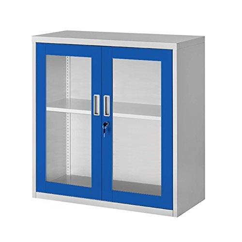 Kleiner Metallschrank - 2 Flügeltüren aus Glas grau/blau