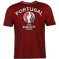 UEFA Euro 2016 Portugal Graphic Camiseta de Manga Corta para Hombre marrón  de balón de fútbol 15ac4199121ab