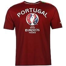 UEFA Euro 2016 Portugal Graphic Camiseta de Manga Corta para Hombre marrón de balón de fútbol