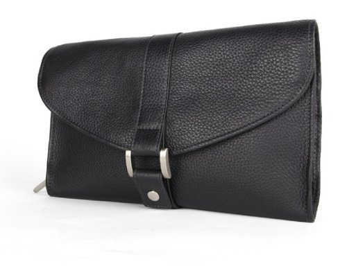 Bosca Tribeca Leather Deluxe Hanging Toiletry Kit - Black by Bosca