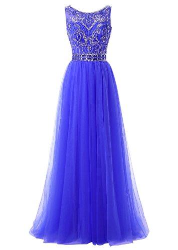 Callmelady Col Haut Tulle 2017 Robe de Soirée Longue Femme Fête Party Bleu Royal Clair