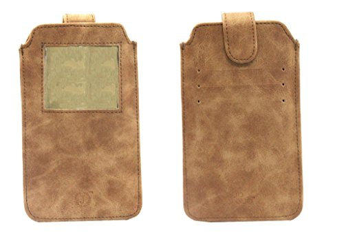 Jo Jo A10 Classic Leather Carry Case Pouch Wallet S View for Micromax Canvas Duet AE90 Dark Tan