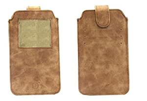 Jo Jo A10 Classic Leather Carry Case Pouch Wallet S View For ZTE Grand S3 Dark Tan