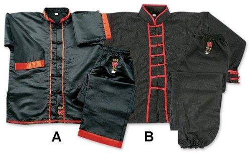 M.A.R. International Kung Fu-Anzug Kostüm Gear Martial Arts WU Shu Wing Chun Tai Chi Polyester Satin Stoff, schwarz, 180 cm