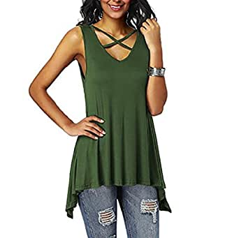 Piebo Women's Summer Sleeveless V Neck Lace up Criss Cross Solid Gym Cami Tank Tops (S, Army Green02)