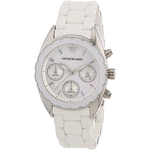 Emporio Armani AR5941 - Orologio da polso donna, silicone, colore: bianco