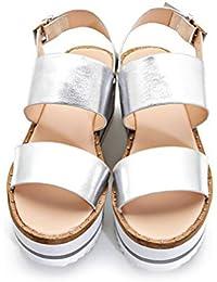 Xianshu Mujeres Casual Hebilla Plataforma Zapatos Cuñas Tacones Sandalias