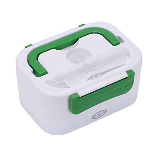 Ghb portavivande scaldavivande elettrico termico portatile 2 scomparti 45w capacità 1,25l per ufficio campeggio viaggio ecc bianco/verde