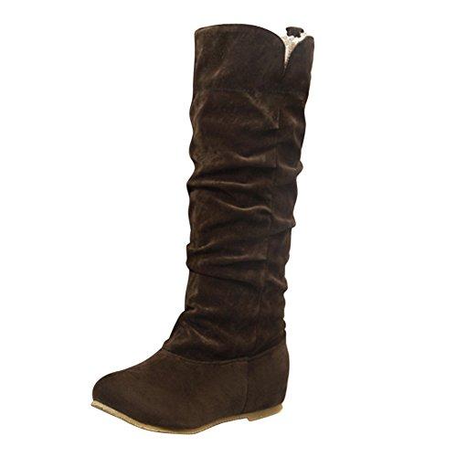 Frestepvie Damen Stiefel Lang Flache Schuhe Herbst Winter Elegant Beiläufig Mit Spietzen Knie Stiefel Outdoor Streetwear Slouchy Schneestiefel (Slouchy-stiefel)