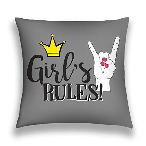 Kissenbezüge Throw Pillow Cover Pillowcase fashion trendy lettering girls rules rock n roll hand nail polish print music festival logo poster Sofa Home Decorative Cushion Case 18