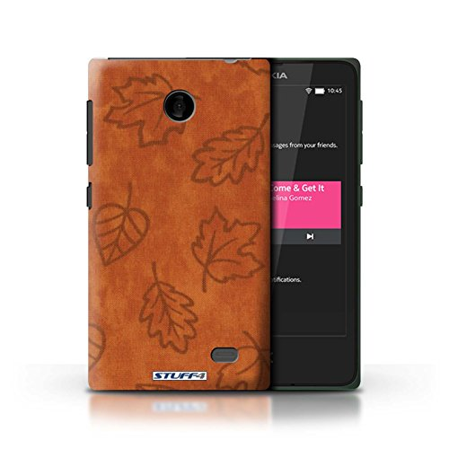 Kobalt® Imprimé Etui / Coque pour Nokia X / Rose conception / Série Motif Feuille/Effet Textile Orange