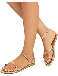 Jianhui Trend Frauen Damen Sandalen - Sommerschuhe Freizeitschuhe Wohnungen  Schuhe, Boho Peep Toe Sandaletten Gladiator Flip… 2074e3ed69