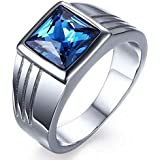 Silver ring with blue zircon