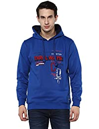 Griffel Latest New Designer Stylish High Quality Cotton Fleece Printed Sweatshirt/Pullover Full Sleeve With Hoodie For Men/Boys (Royal Blue)