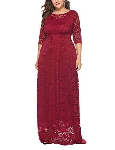 besbomig Damen Übergröße Halbe Hülse Spitze Party Abendkleider - Rundhals Eine Linie Maxi Langes Kleid mit Taschen