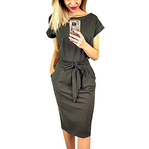 Yieune Sommerkleid Damen Kurzarm Cocktailkleid Festlich A Linie Partykleid Abendkleid Knielang