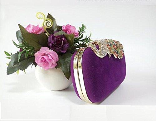 Somarke donne strass pavone Velvet party frizione sera borse colorate, Red (rosso) - L-229 Purple
