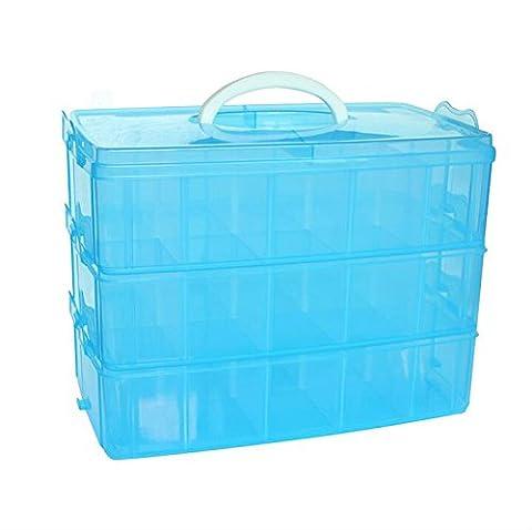 DJUNXYAN 3-Tier 30 Sections Transparent Boîte de rangement réglable empilable Boîte de rangement en plastique Boîte de rangement pour Jouet Bijoux de bureau Accessoire tiroir ou cuisine 4 couleurs 3 tailles (Extra large bleu)