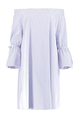 Damen Blau Esme Stripe Off Shoulder Shift Dress Blau
