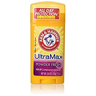 Arm & Hammer Ultramax Deodorant and Antiperspirant Solid, Powder Fresh, 2.6-Ounce Stick (Pack of 6)