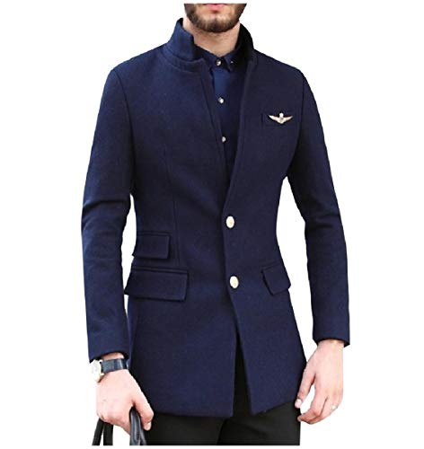 CuteRose Men's Stand Collar Single-Breasted Wool Blend Blazer PEA Coat Navy Blue XL Single Breasted Peacoat