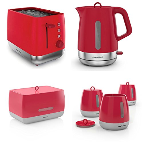 Morphy Richards Poppy Red Kitchen Appliance Set - 1.5 Litre Chroma Kettle And Chroma 2 Slice Toaster With Bread Bin And 3 Canisters