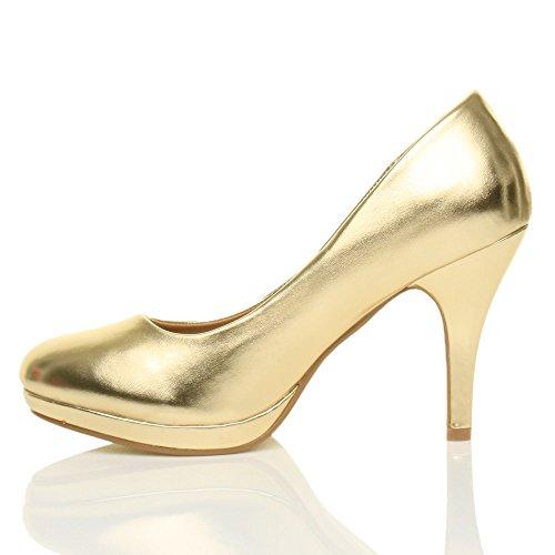 Donna tacco alto medio lavoro sera festa semplice décolleté scarpe taglia Oro metallizzato