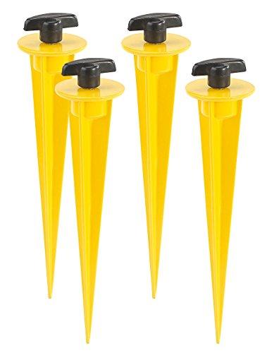 AGT LED Strahler Erdspieß: 4er-Set Aluminium-Erdspieße für LED-Fluter, 17 cm, gelb (Garten-Erdspieß für LED-Fluter)