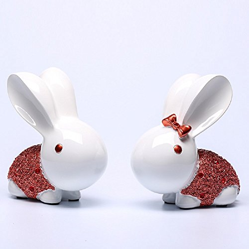 K&C Lovely Kaninchen Paar Serie Home Decor Bunny Kaninchen Figur Statue Rose (Kostüme Bunny Kleinkind)